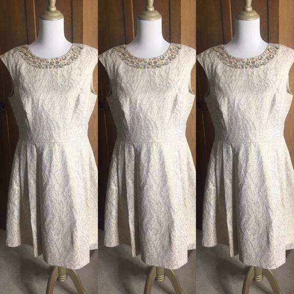 Eliza J Dresses & Skirts - Eliza J gold brocade/crystal fit & flare dress 14